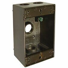 Hubbell-Raco 5321-2 Single Gang Weatherproof Box with 4-1/2-Inch Outlets, Bronze