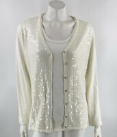 Quacker Factory Sweater Twinset Small White Cardigan & Shell Tank Sequin Holiday