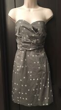H&M Womens Strapless Dress Polka Dot Zip Up Party Cocktail Size 12 #317