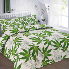 Double Cannabis Marijuana Leaf Weed Green Print Duvet Quilt Cover Bedding Sets
