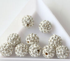 Wholesale10/20/50Pcs  ROUND CRYSTAL PAVE CLAY DISCO BALL BEADS 10mm