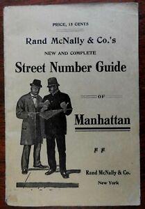 Manhattan New York City 1912 Rand McNally large folding pocket map city plan