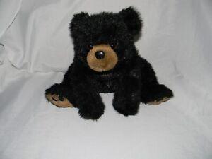 The Bearington Collection Black Bear Plush - Seated Laying Stuffed Bear Toy