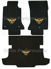 C5 Corvette Coupe Classic Loop Black Floor & Rear Trunk Mats Yellow Flags Logo
