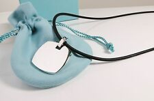 "NEW Tiffany & Co Gehry Large Tag Torque 925 Pendant Necklace 20"" Rubber Cord"