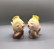 Vintage Rare Anthropomorphic Kissing Flowers Salt And Pepper Shakers Japan