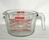 """Vintage"" Pyrex Glass Measuring Cup Bowl Liquid 4 Cups Red Letter Ozs Metric USA"
