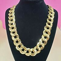 Vintage MONET Shiny Gold Tone Double Link Chain Chunky Choker Statement Necklace