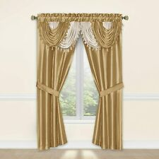 "Window Gold Curtain Set 2 Panels Valance Tieback 54"" x 84"" Panel Sheer Drapes 5"