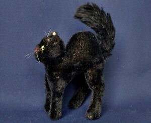 "Vintage German Toy Steiff Mohair Black Cat 7"" tall"