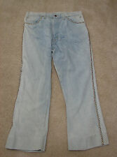 VINTAGE LEVIS Jeans #2 Stamped Studded 42 Talon Zip Single 3% Shrink 646 34