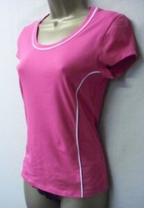 ex m&s active sports tee shirt cotton blend new great vibrant pink size 8
