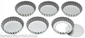 Kitchen Craft Set of 6 10cm Individual Loose Bottom Tartlet Quiche Baking Tins