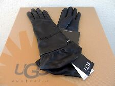 UGG TECH RUCHED BLACK LEATHER/ CASHMERE TOUCH SCREEN SMART GLOVES ~ M ~ NWT