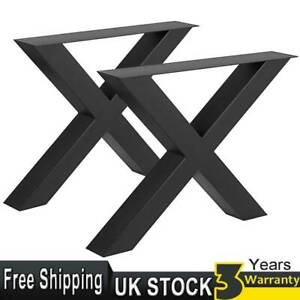 2pcs Industrial Steel Cross X Shape Table Legs Dining Bench Office Desk Stand