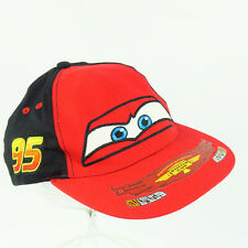 Disney Pixar CARS Piston Cup Black Red #95 Embroidered Hat Flames Snap Back Cap