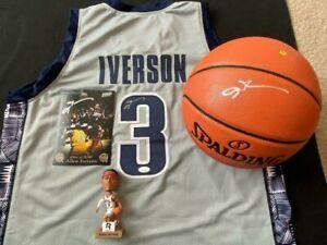 ALLEN IVERSON AUTOGRAPHED GEORGETOWN HOYA JERSEY, NBA BASKETBALL & PHOTO