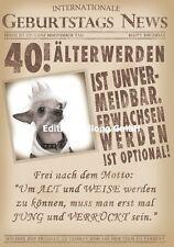 Glückwunschkarte zum 40.Geburtstag-s-News*Hund*Zeitung Grußkarte mit Humor