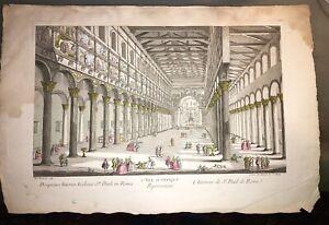 ROME. L'INTÉRIEUR DE St. PAUL DE ROME (VUE D'OPTIQUE FIN XVIIIéme).