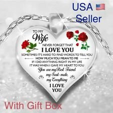 To My Wife I Love You Husband Heart Rose Necklace Mother's Day Gift N177