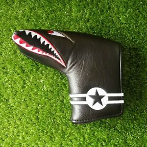 Black PU Shark Embroidery Golf Club Blade Putter Head Cover Magnetic Closure