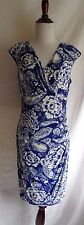 Lauren Ralph Lauren 10 Blue & White Victorian Flower Paisley Draped Ruched Dress