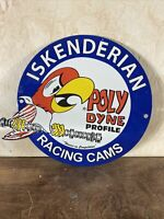 "VINTAGE STYLE ""ISKENDERIAN RACING CAMS'' DEALER PLATE PORCELAIN SIGN 12X14 IN."