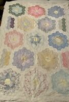 Vintage Handmade Hand Cut, Pieced, Sewn Grandmothers Flower Garden Quilt Top