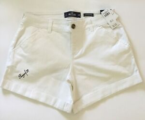 NWT Hollister Women's Classic Stretch Mid-Rise Twill Short 3 in., White, Size 7