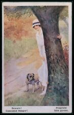 art Lw English Bulldog guard pretty lady dog original old c1910s postcard