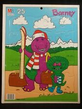 Barney Baby Bop Tray Puzzle Milton Bradley Vintage 1993 Vintage 25 Piece Skiing