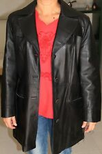 Cappotto donna vera pelle colore nero taglia 42, come nuovo. Made in Italy