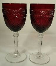 2 Cristal D'Arques-Durand Ruby Red Antique Wine/Water Goblet Glasses
