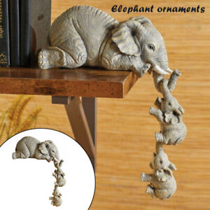 3Pcs Elephant Mother Child Figurine Home Tabletop Animal Statue Decor Gift AU