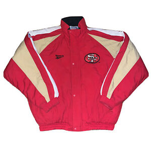 Vintage San Francisco 49ers Reebok Pro Line Hoodie Puffer Quilted Jacket EUC