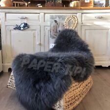 Genuine Charcoal Grey Gray sheepskin rug  Single size eco pelt Fur Throw Dark