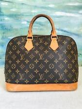 $1530 LOUIS VUITTON Alma PM Brown Monogram Canvas Leather Satchel Bag Gold SALE!