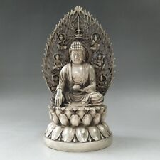 Tibet silver statue of pure manual sculpture mill old Buddha statues