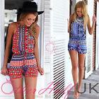 UK Womens Print Mini Playsuit Ladies Jumpsuit Summer Shorts Beach Dress