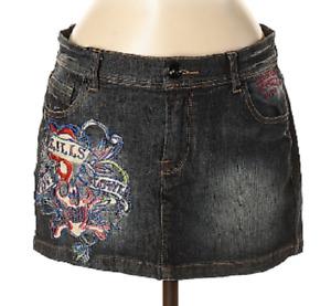 Ed Hardy Graphic LOVE KILLS SLOWLY Black Denim MINI jean skirt 28 waist
