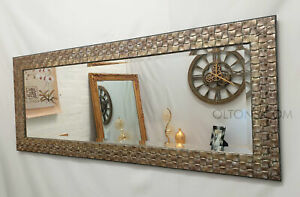 Wall Mirror Full Length Mosaic Antique Silver Champagne 132x53cm John Lewis