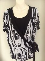 Woman's Stunning White and Black Designer Top - Size XXL