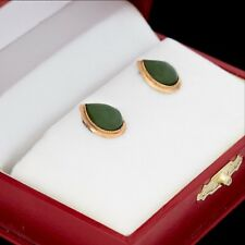 Antique Vintage Deco 14k Rose Gold Chinese Carved Nephrite Jade Stud Earrings