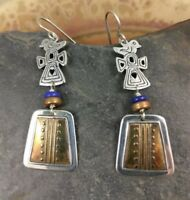 Tabra Aztec Bird Lapis Sterling Bronze Earrings signed