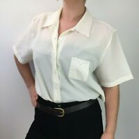 Debenhams Cream Blouse w/ Embroidered Collar and Chest Pocket Cute Sz 16 18 20