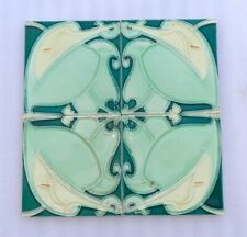 Vintage Old Rare Majolica Floral Art Nouveau Architecture Furniture Tile England
