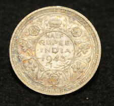 1943L India Half Rupee in AU Condition 50% SILVER Nice  Rainbow Toned Coin!
