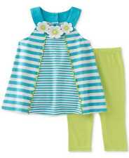 Kids Headquarters Baby Girl's 2-Pc. Striped Tunic Capri Sets