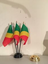 CONGO BRAZZAVILLE TABLE FLAG SET of 3 flags and base
