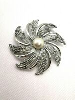 Vintage Sarah Coventry Signed Silver Tone Faux Pearl Brooch Art Deco Style
